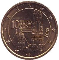 Монета 10 центов. 2002 год, Австрия.