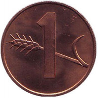 Монета 1 раппен. 1985 год, Швейцария. UNC.