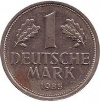 Монета 1 марка. 1985 год (F), ФРГ. Из обращения.