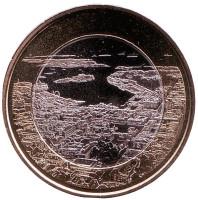 Приморский пейзаж Хельсинки. Монета 5 евро. 2018 год, Финляндия.