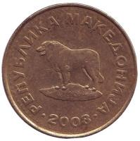 Пастушья собака. Монета 1 денар. 2008 год, Македония. Из обращения.