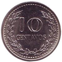 Монета 10 сентаво. 1977 год, Колумбия. UNC.