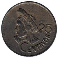 Индианка. Монета 25 сентаво. 1994 год, Гватемала.