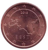 Монета 1 цент. 2018 год, Эстония.
