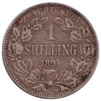 Монета 1 шиллинг. 1894 год, ЮАР.