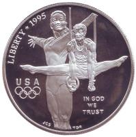 XXVI летние Олимпийские Игры. Атланта 1996. Гимнастика. Монета 1 доллар. 1995 год, США.