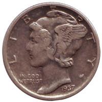Меркурий. Монета 10 центов. 1937 год, США. Без обозначения монетного двора.