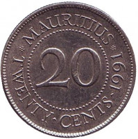 Монета 20 центов. 1991 год, Маврикий.