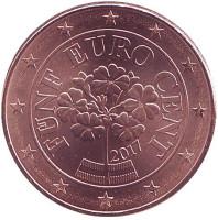 Монета 5 центов, 2017 год, Австрия.