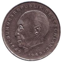 Конрад Аденауэр. Монета 2 марки. 1987 год (F), ФРГ. Из обращения.