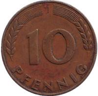 Дубовые листья. Монета 10 пфеннигов. 1949 год (J), ФРГ.