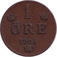 Монета 1 эре. 1904 год, Швеция.