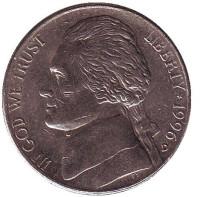 Джефферсон. Монтичелло. Монета 5 центов. 1996 год (D), США.