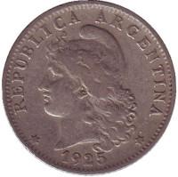 Монета 20 сентаво. 1925 год, Аргентина.