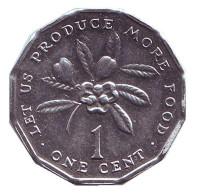Аки. (Блигия вкусная). Монета 1 цент, 1996 год, Ямайка.