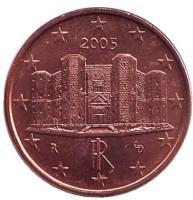 Монета 1 цент, 2005 год, Италия.
