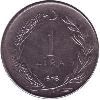 Монета 1 лира. 1979 год, Турция.