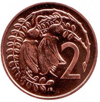 Цветки куаваи. Монета 2 цента. 1983 год, Новая Зеландия. BU.