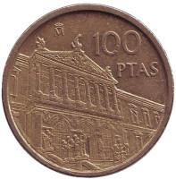 Здание Национальной библиотеки. Монета 100 песет. 1996 год, Испания. Из обращения.