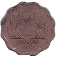 Монета 1 куруш. 1939 год, Турция.