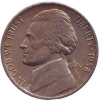 Джефферсон. Монтичелло. Монета 5 центов. 1938 год (D), США.