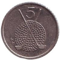 Клюшки для гольфа. Монета 5 пенсов. 1994 год, Остров Мэн.
