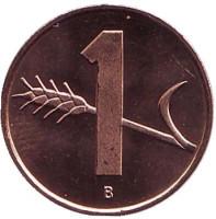 Монета 1 раппен. 2004 год, Швейцария. UNC.