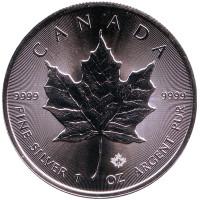 Кленовый лист. Монета 5 долларов. 2018 год, Канада.