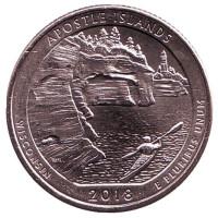 Национальные озёрные побережья островов Апостол. Монета 25 центов (P). 2018 год, США.