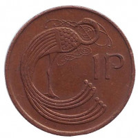 Птица. Ирландская арфа. Монета 1 пенни. 1982 год, Ирландия.