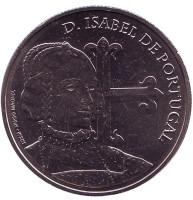 Изабелла Португальская. Монета 5 евро. 2015 год, Португалия.