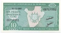 Банкнота 10 франков. 2007 год, Бурунди. Тип 2.