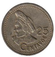 Индианка. Монета 25 сентаво. 1997 год, Гватемала.