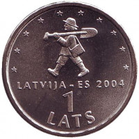 Спридитис. (Мальчик с пальчик). Монета 1 лат, 2004 год, Латвия.