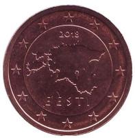 Монета 2 цента. 2018 год, Эстония.
