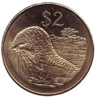 Степной ящер (саванный панголин). Монета 2 доллара. 2001 год, Зимбабве.