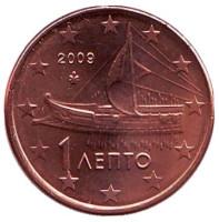 Монета 1 цент. 2009 год, Греция.