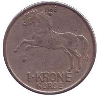 Лошадь. Монета 1 крона. 1968 год, Норвегия.