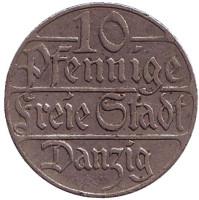 Монета 10 пфеннигов. 1923 год, Данциг.