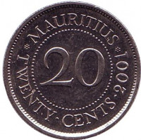 Монета 20 центов. 2001 год, Маврикий.