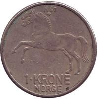 Лошадь. Монета 1 крона. 1960 год, Норвегия.