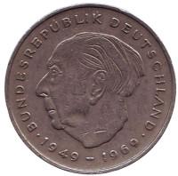 Теодор Хойс. Монета 2 марки. 1970 год (D), ФРГ. Из обращения.