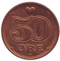 Монета 50 эре, 2003 год, Дания.