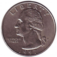 Вашингтон. Монета 25 центов. 1997 (P) год, США.
