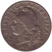 Монета 20 сентаво. 1927 год, Аргентина.