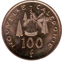 Хижина островитян. Монета 100 франков. 2009 год, Новая Каледония.