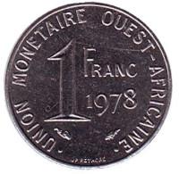 Монета 1 франк. 1978 год, Западные Африканские штаты.