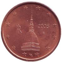 Монета 2 цента. 2005 год, Италия.