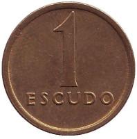 Монета 1 эскудо. 1986 год, Португалия. Старый тип.