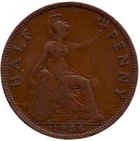 Монета 1/2 пенни. 1936 год, Великобритания.